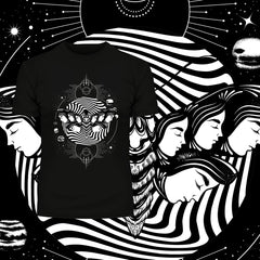 Old Skool Surreal Artwork T-shirt With Faces And Planets