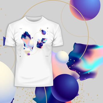 Fluid Masterpiece Unique Abstract & Surreal Crew Neck White Unisex T-Shirt Design