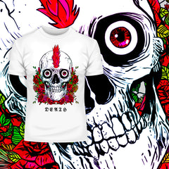 Kuzi tees Punk Skull With Roses and Red Hair T-shirts