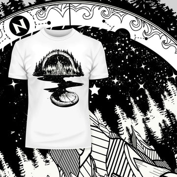 Surreal T-shirt of River Mountain & a Compass White Tee