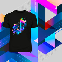 Abstract 3D multi-color Geometrical Composition Blocks Crew Neck T-Shirt