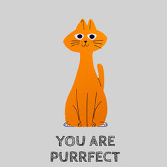 100% Eco T-shirt - You Are Purrfect Cat Kuzi Tees