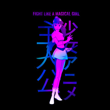 Manga Japanese - Fight like a magical girl T-shirt for Japanese culture lovers