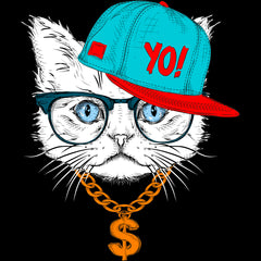 Hip Hop T-Shirt Cat with the Glasses and Hat