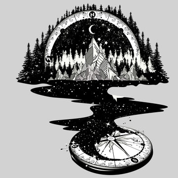Surreal river mountain and compass White Tank top