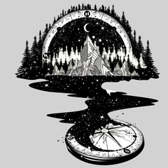 Kuzi Tees Surreal river mountain and compass
