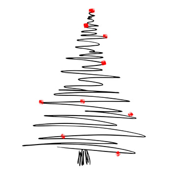 Abstract One Line Drawing Christmas Tree