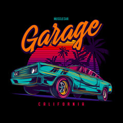An American muscle car in retro neon style - Garage California