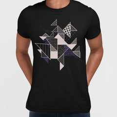 Abstract Flat Art Background With Geometric Elements Crew Neck  Tee