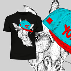 Hip Hop T-Shirt Giraffe with the Glasses and Hat