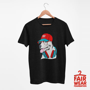 Hip Hop T-Shirt Dog with the Glasses and Hat