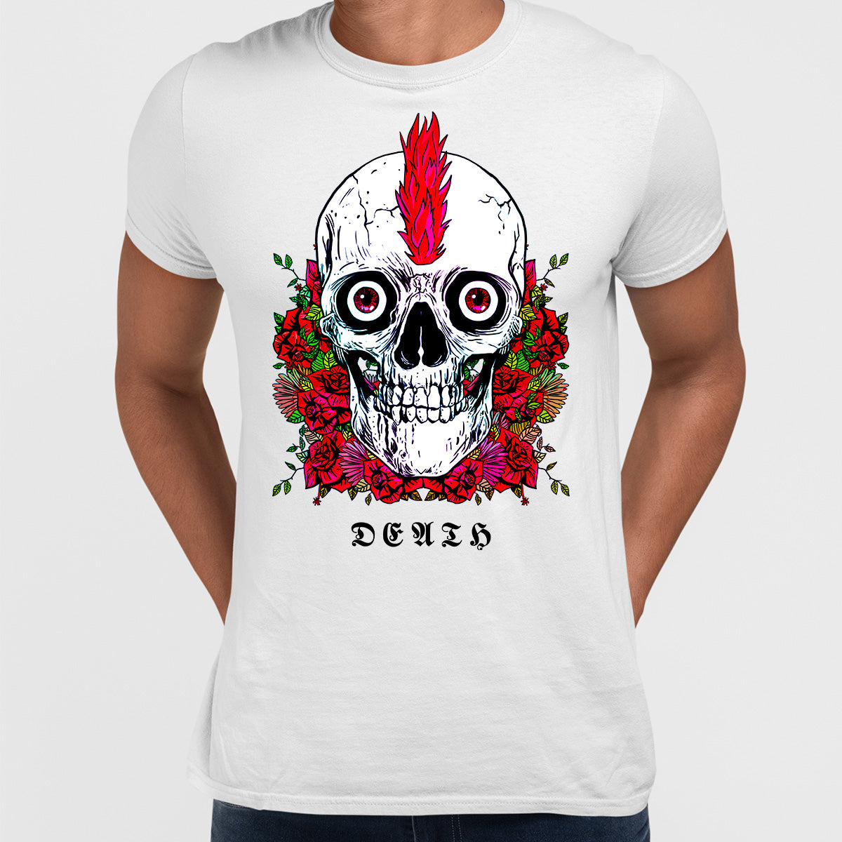 Punk Skull With Roses and Red Hair T-shirts