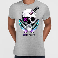 Grey Dirty Pirate Skull T-shirts