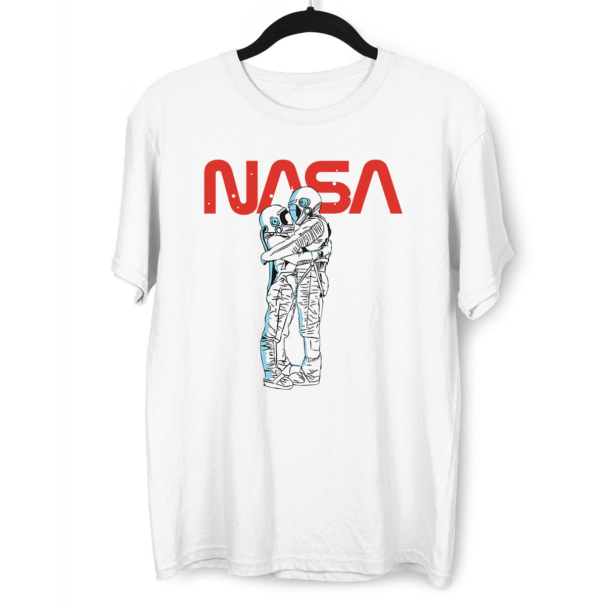 NASA Imagine Love Is In The Air Astronauts Floating in the Space White T-Shirt