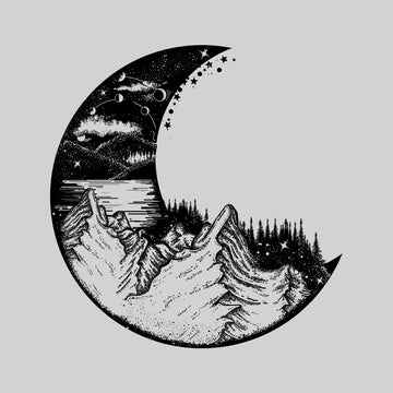 Women's Surreal moon eclipse with forest and mountains Crew Neck Black T-shirt