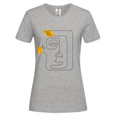 Women's Old-Skool One Line Drawing Abstract Face One Crew neck Grey T-shirt