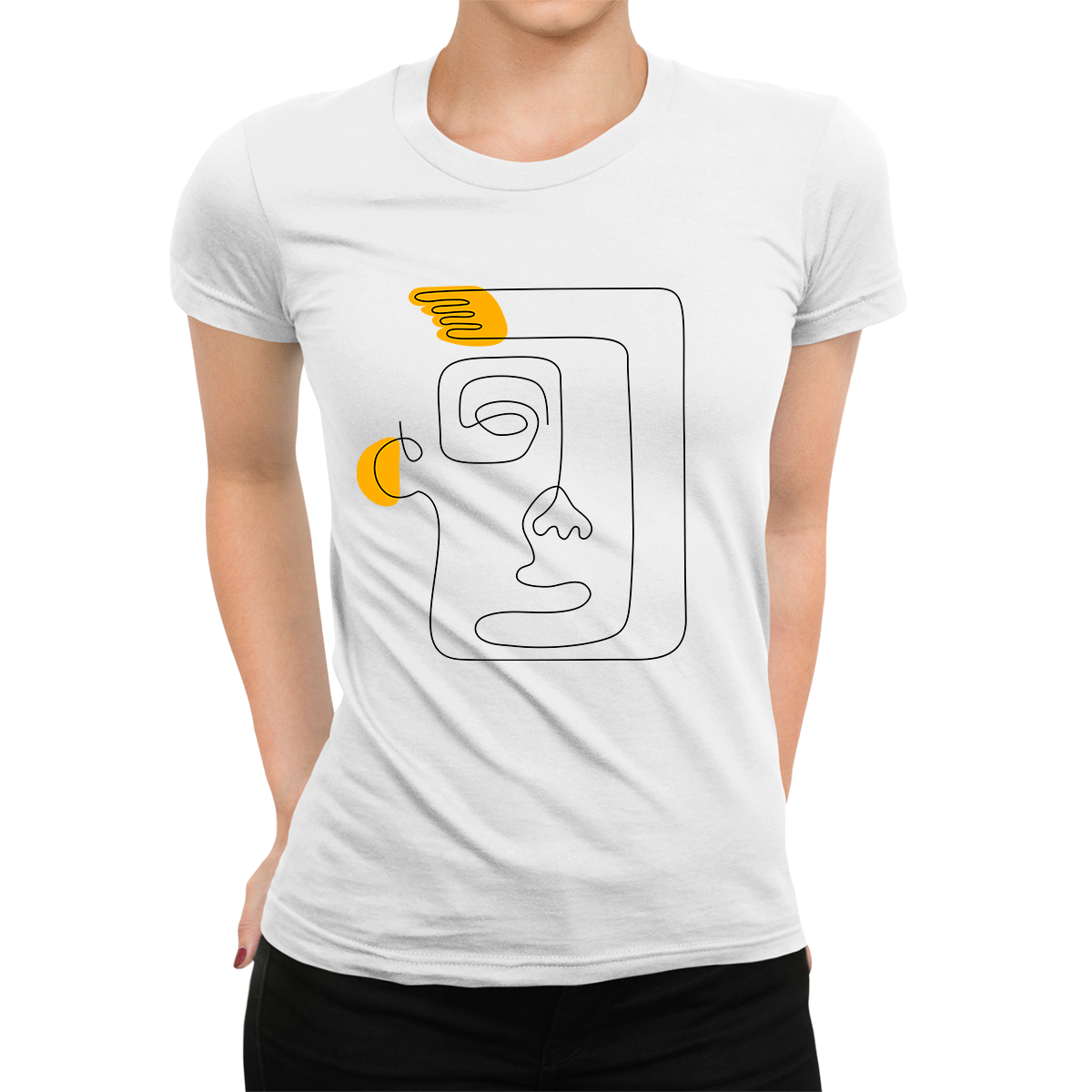 Women's Old-Skool One Line Drawing Abstract Face One Crew neck White T-shirt