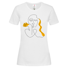 Women's Old-Skool One Line Drawing Abstract Face Two Crew neck white T-shirt