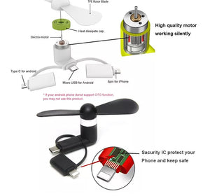 Mini Micro USB Mobile Cell Phone Fan (3-in-1) - Ship from Canadian Inventory - Seasons Forever