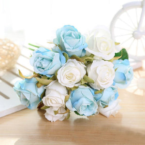 Artificial Bride Rose Bouquet Decorative Silk Flowers - Seasons Forever