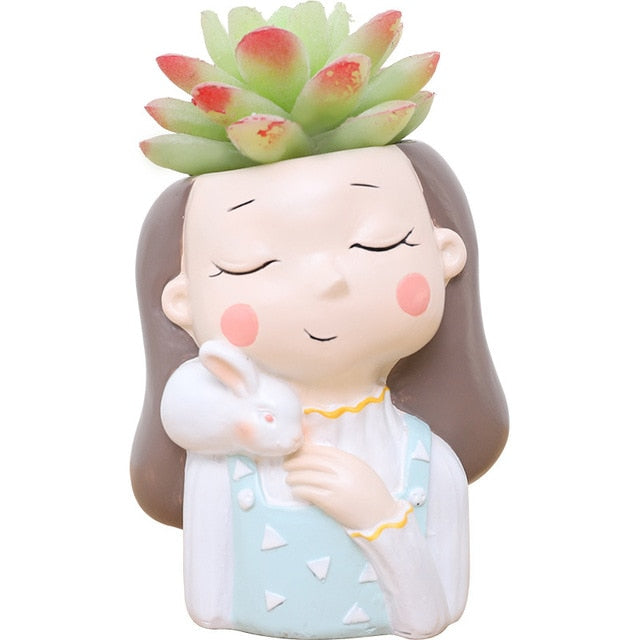 Girl Plants Resin Succulent Plants Mini Bonsai Planter - Seasons Forever