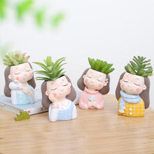 Load image into Gallery viewer, Girl Plants Resin Succulent Plants Mini Bonsai Planter - Seasons Forever
