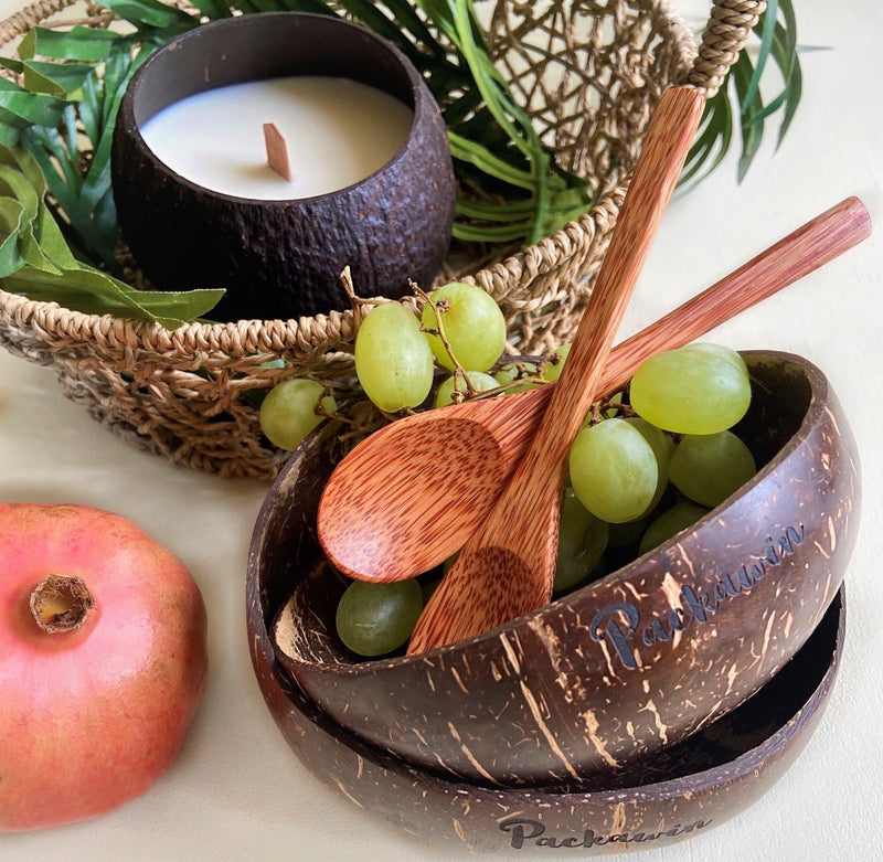 ECO candle set, coconut bowls and coconut wood spoons