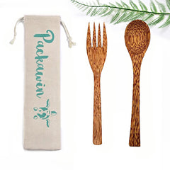 Coconut Wood Spoon and Fork Set - PACKAWIN