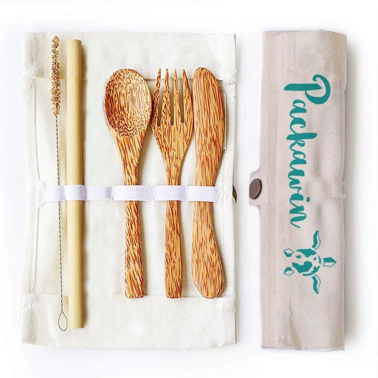 Coconut cutlery set and bamboo straw - PACKAWIN