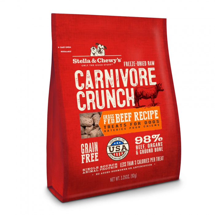 Stella & Chewy's Carnivore Crunch Grain Free Beef Recipe Freeze Dried Raw Dog Treats