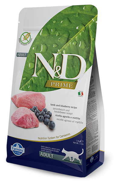 Farmina Prime N&D Natural and Delicious Grain Free Adult Lamb & Blueberry Dry Cat Food