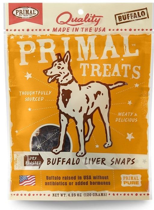Primal Dry-Roasted Grain Free Buffalo Liver Snaps Dog Treats