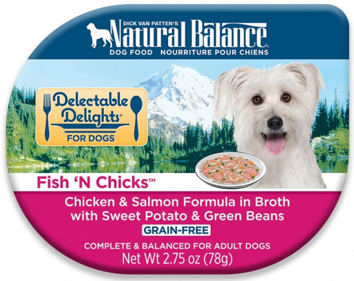 Natural Balance Delectable Delights Grain Free Fish n Chicks Chicken and Salmon Formula in Broth with Sweet Potato and Green Beans Wet Dog Food