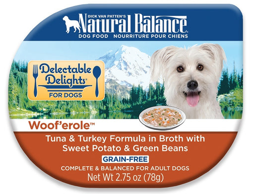 Natural Balance Delectable Delights Wooferole Grain Free Tuna and Turkey in Broth with Sweet Potato and Green Beans Wet Dog Food
