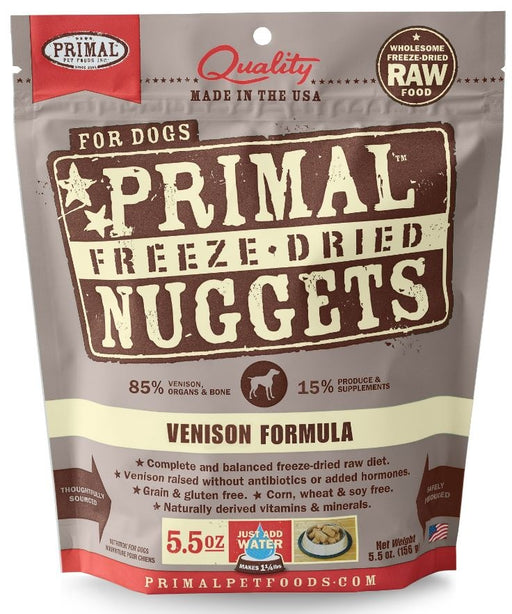 Primal Freeze Dried Nuggets Grain free Venison Formula Complete Diet for Dogs