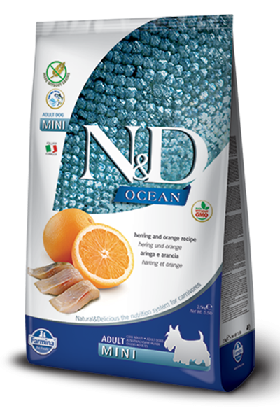 Farmina Ocean N&D Natural & Delicious Grain Free Mini Adult Herring & Orange Dry Dog Food