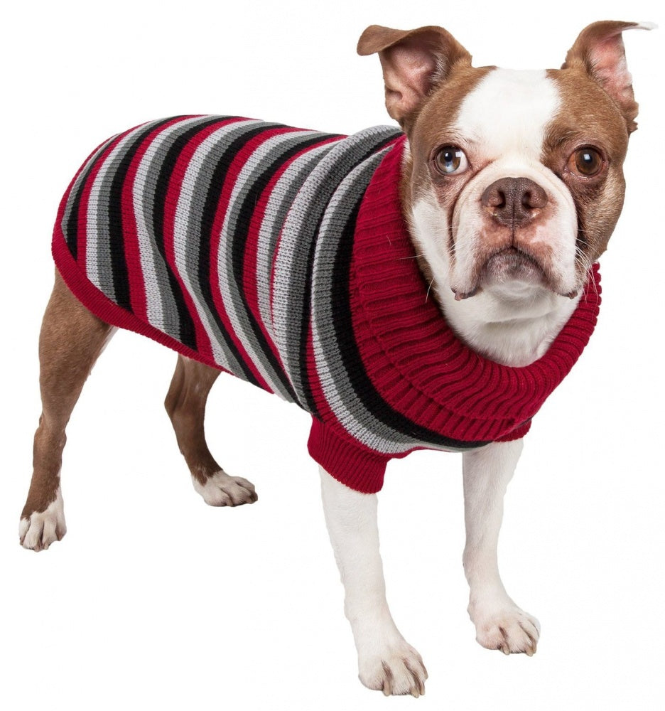 Pet Life Polo Casual Lounge Cable Knit Red Black & Grey Turtle Neck Dog Sweater