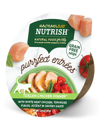 Rachael Ray Nutrish Purrfect Entrees Tuscan Chicken Dinner with Chicken, Tomatoes, & Basil Accent in Sauce Wet Cat Food