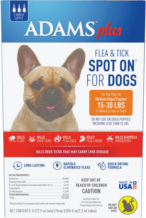 Adams Plus Spot On Flea & Tick For Medium Breed Dogs