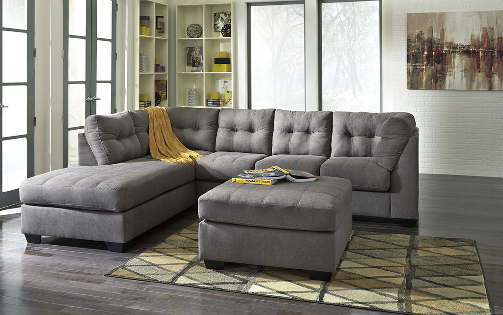 Charcoal LAF Sectional and Ottoman