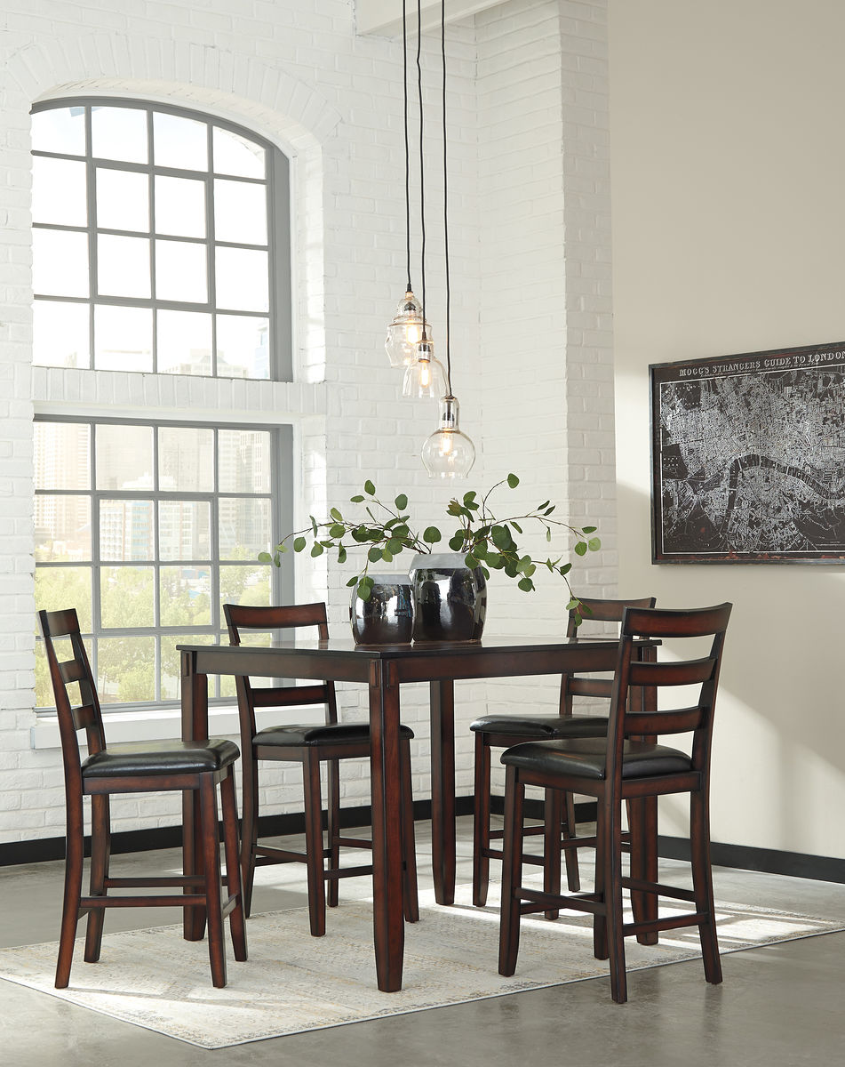 Counter Height Dining Room Table and Bar Stools (Set of 5)
