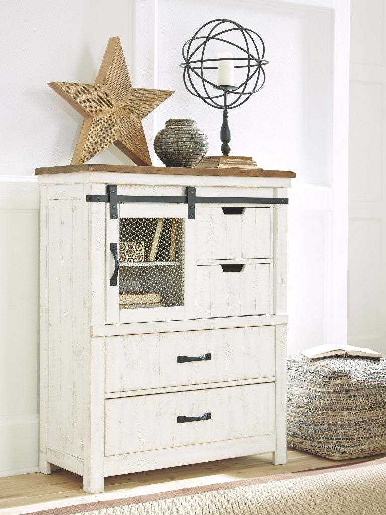 Chest Four Drawer Wystfield  White/Brown