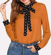 Issa Vibe Polka Dot Tie Blouse-Plus