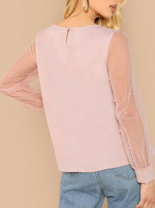 Such A Lady Pearl Studded Blouse
