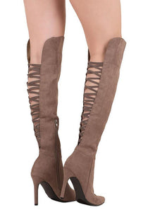 Criss Cross Knee Boots: Taupe