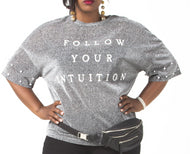 Intuition Sheer Glitter Shirt-Plus