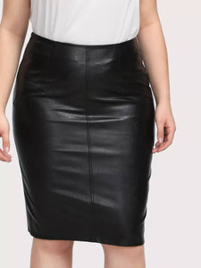 Bad 2 the Bone Faux Leather Pencil Skirt-Plus