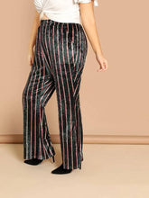Load image into Gallery viewer, Chelsee Striped Velvet Pants-Plus