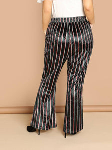 Chelsee Striped Velvet Pants-Plus