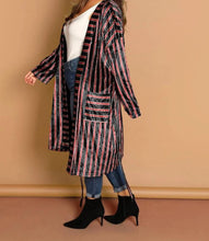 Load image into Gallery viewer, Boss Babe Velvet Striped Coat-Plus